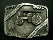 1998 Rumely Expo Advance Oil Pull Tractor Logo Pewter Belt Buckle Antique Acres