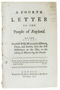 John 1709 1788 Shebbeare / Fourth Letter To The People Of England 1st Ed 1756
