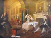 Antique Oil Painting Of William Hogarth And The Marriage A La Mode C1820