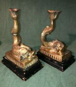 Vintage Asian Cast Bronze Koi Dolphin Fish Candle Holders On Black Wood Base