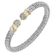 Vahan Sterling Silver And 14k Gold - 0.14cttw Diamonds - 4 Mm Width