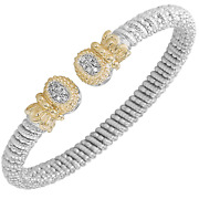 Vahan Sterling Silver And 14k Gold With 0.09cttw Round-cut Diamonds - 6 Mm Width
