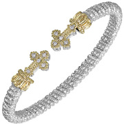 Vahan Sterling Silver And 14k Yellow Gold - 0.10cts Of Diamonds - 4mm Width