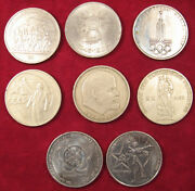 Commemorative Soviet Сoins 1 Ruble 8 Various Pieces Ussr Russian 1965-1985 Years