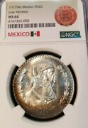 1957 Mexico Un Peso Jose Morelos Ngc Ms 64 First Year Nice Toning Bright Coin