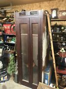 1950s Vintage Wood Telephone Booth 3 Side Finish. Working Light.