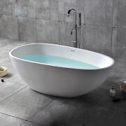 Stone Resin Oval Freestanding Soaking Bathtub With Drainandoverflow In Matte White