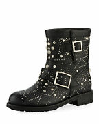 1595 Nwt In Box Jimmy Choo Youth Star-studded Leather Moto Boot, Sz 39