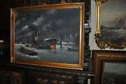 Beautiful Large Antique Americana Harbor Painting Oil On Canvas