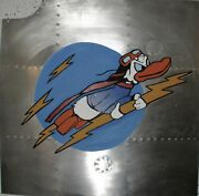 Wwii Hand Painted Airplane Nose Art Panel Reproduction Donald Duck Nap-0119