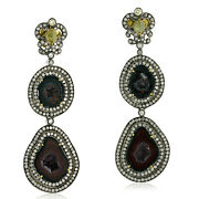 Memorial Day 29.44ct Geode Dangle Earrings 18k Yellow Gold 925 Silver Jewelry