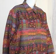 Coldwater Creek Xl Cultured Folkloric Art-to-wear Tapestry Lightweight Jacket