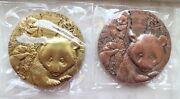 A Pair 2012 China 90mm Brass And Copper Medals - 30th An. Issuance Panda Gold Coin