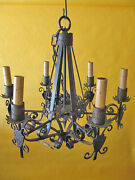 Vintage Spanish Revival Gothic Iron 6 Light Chandelier 1930's Wired