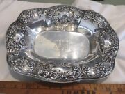 1890s Repousse Victorian Floral Sterling Silver 11 Bread Tray Barbour 228 Grams