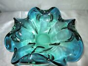 Antiques Decorative Murano Arts Ruffle Blue And Green Heavy Glass Bowl