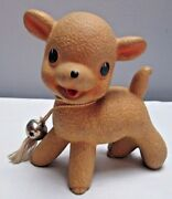 Vintage 1950 Era Squeaker Toy Rempel Rubber Lamb With Bell 4 Inches Tall