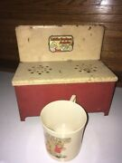 Vintage Lithograph Tin Toy Little Orphan Annie Stove Oven W Ovaltine Plastic Mug