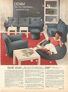 Vintage 70and039s Denim Furniture Couch Chair Beanbag Catalog Print Ads Clipping