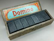 Vintage Antique Airplane Wooden Domino Set Made In Germany