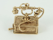 Telephone Charm Vintage 9ct Gold 375 Charms Pendant 7.9g Ey2