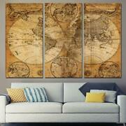 Ancient Old World Map Framed 3 Piece Canvas Wall Art Painting Wallpaper Poster P