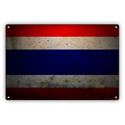 Thailand Country Flag Thai Thong Vintage Look Decor Novelty Aluminum Metal Sign
