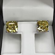 7ct Studs Diamond Earrings Cushion Fancy Canary Yellow Man Made 14k Solid Gold
