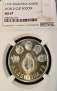 1978 Argentina Silver 2000 Pesos S2000p World Cup Soccer Ngc Ms 67 Top Pop