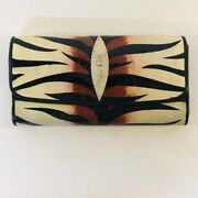 Pre-loved Handpainted Stingray Leather Shagreen Clutch Wallet Zebra Retail 1400