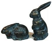 Glazed Terra Cotta Pottery Set Of Two Rabbits Bunnies Blue Gold
