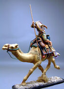 Painted Tin Toy Soldier Arab Palmyra Soldier On A Camel With A Spear 54mm 1/32