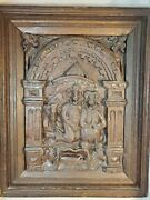 Antique European Wood Carved Nativity Wall Plaque