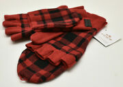 Coach Signature Plaid Mittens Gloves Red Black New Nwt
