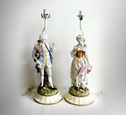 Large Meissen Quality Victorian Figural Lamps - Man And Woman - Dresden Style