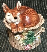 Fitz And Floyd Laying Fox On Stump Salt And Pepper Shakers
