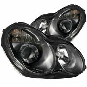 Anzo Usa Projector Headlights Black For Mercedes-benz C Class W203 4dr 2000-2007