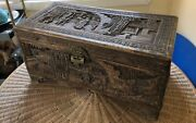 Exquisite Old Estate Hand-carved Chinese Wood Trunk - See Photos - Impressive