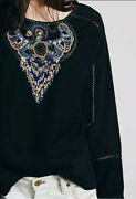 Free People New Romantics Beaded Eagle Pullover Size M - Nwot Rare