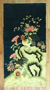 Antique Chinese Peking Rooster Rug Size 2'3''x4'3''