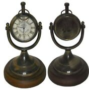 Antique Vintage Collectible Decor Brass Table Clock With Wood Base Replica