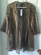 Travelers By Chicos Foiled Open Lace Jacket Tuscan Olive 3 Petite