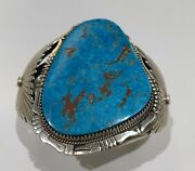 Navajo Natural 1950and039s Morenci Turquoise And Sterling Silver Cuff