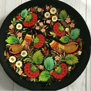 Russian Lacquer Traditional Style Painted Decorative Platter