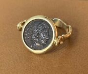 14kt Yellow Gold Ring Ancient Roman Bronze Coin Constantine