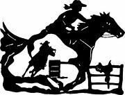 Cowgirl Barrel Racer Horse Saddle Rodeo Racing Window Vinyl Decal Sticker