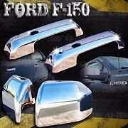 For F150 Chrome Side Mirror Door Handle Cover With Smart Key Combo Overlay Trim