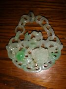 Chinese Carved Jade Pendant With Kissing Birds Flowers And Fruit Magnificent Piece