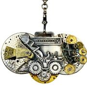 Artisan Vintage Caterpillar Fob And Watch Parts Assemblage, Steampunk Necklace