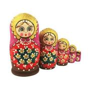 Cute Face Matryoshkafloral 5 Nesting Doll Hand Carved Hand Painted 5 1/2 Tall